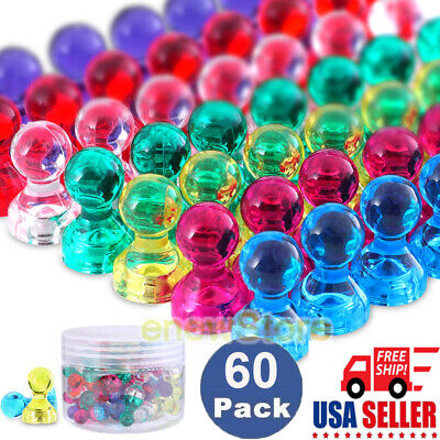 60pcs Push Pins Magnets Assorted Colorful Neodymium Magnets Whiteboard Magnets