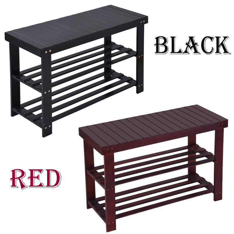 3tier bamboo stool shoe rack bench storage