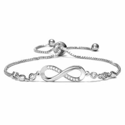 Adjustable Silver Infinity Bracelet Cubic Zircon Crystal Bridal Jewelry -