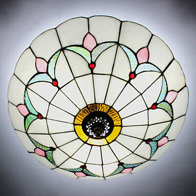 Tiffany Style Stained Glass Ceiling Lamp Fixture Flush Mount Vintage 2 Lights