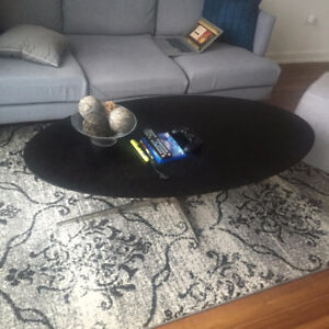 Contemporary Black Oval Coffee Table for Sale