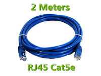 New 2 Meters Cat5e RJ45 Ethernet Network Internet LAN Router Patch Cable Lead Cord Blue