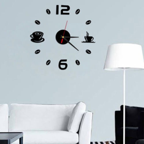 Modern Art 3D DIY Large Wall Clock Self Sticker for Home Office Room Decor Gifts