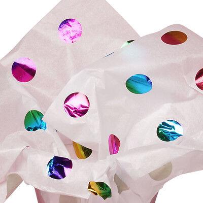 Metallic Rainbow POLKA DOTS White Tissue Paper for Gift Wrap