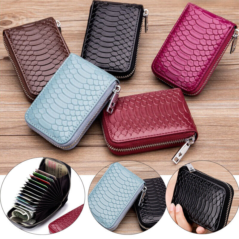 Men Leather Wallet Credit Card Holder Purse RFID-Blocking Zipper Mini Pocket US Clothing, Shoes & Accessories