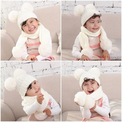 2pcs Newborn Baby Hats Scarf Knitted Double Pom Hat Faux Fur Scarves Set XMAS