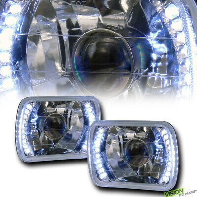 7X6 Chrome Clear Glass Lens White Led Projector Headlights Kit H4 H6052 H6054 V3