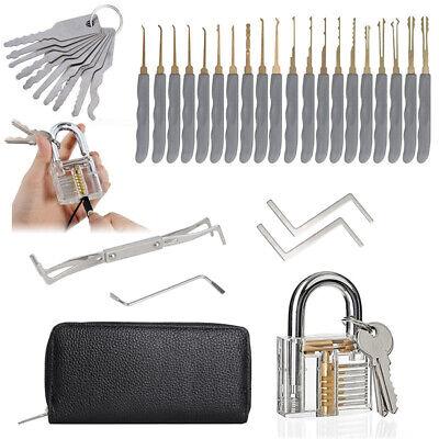 Juego de 24 Ganzúas lock picking Desbloqueo para Principiantes+10 Llaves+Candado