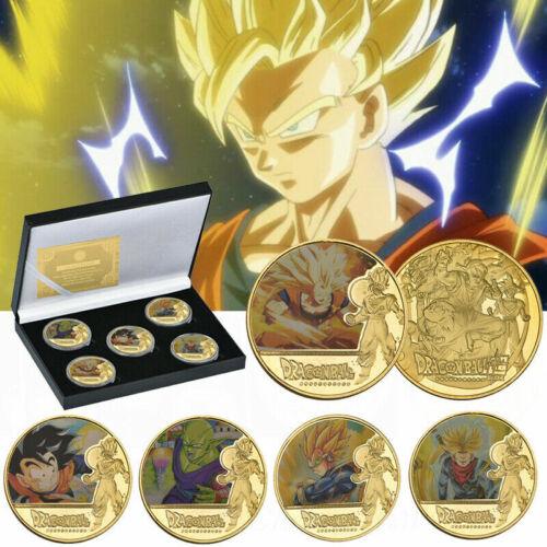 5pcs Dragon Ball Z Gold Commemorative Coin Goku Vegeta Collection In The Box