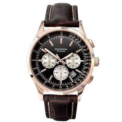SEKONDA Chronograph Leather Strap Mens Watch 3413