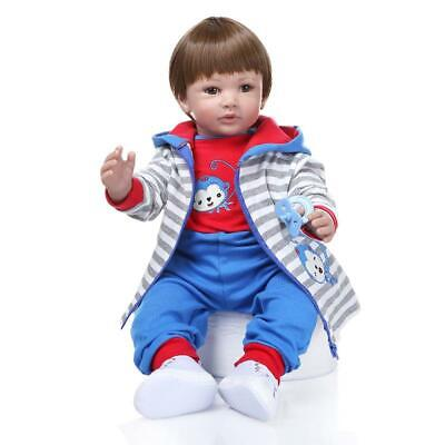 """Reborn Toddler Dolls 24"""" Boy Handmade Baby Vinyl Gift Toy Cloth Body Realistic for sale  Shipping to Canada"""