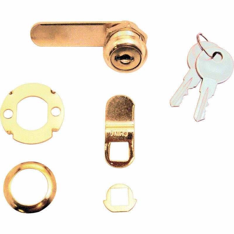 Prime-Line Bright Brass Gold Steel Cabinet/Drawer Lock