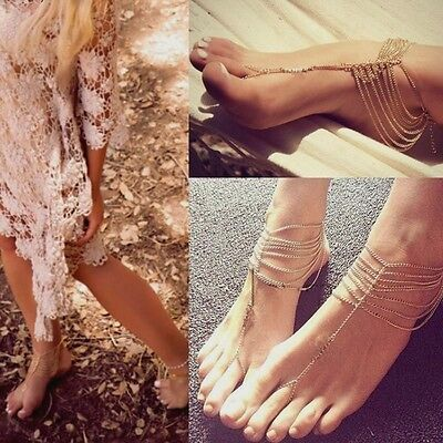 Fashion Multi Tassel Toe Ring Chain Link Foot Jewelry Anklet Gift J014