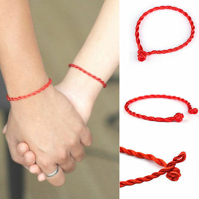 10 Pcs Hand Braided Chinese Red Simple Style Lucky String Rope Cord Bracelet (Red Ropes)