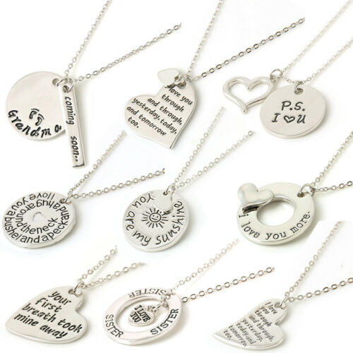 Jewellery - Silver Vogue Charm Statement Bid Pendant Family Lover Necklace Jewelry Love Gift