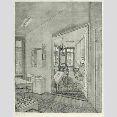 Eberhard Franke: Berliner Wohnung. Aquatintaradierung 1985.