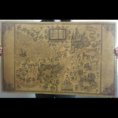 (Retro Harry Potter Magic Old World Map Brown kraft Paper Wizarding Poster 72x46)