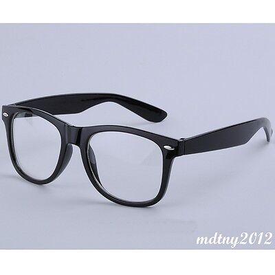 Clear Lens Black Frames Wayfarer Glasses Designer Fashion Nerd Geek Mens Womens