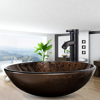 - Bathroom Tempered Glass Vessel Sink Single Bath Basin Bowl Faucet Drain Combo