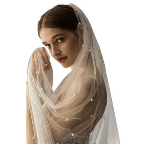 1 Tier Cathedral Royal Crystal Pearl Wedding Bridal Veil With Pearl Ivory 3m