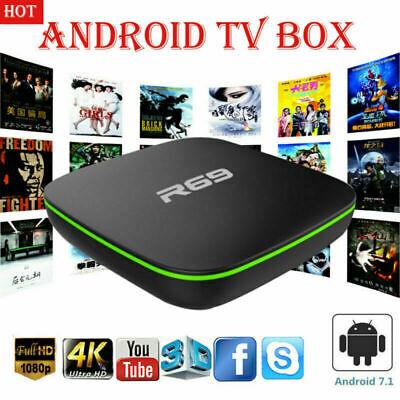 R69 Quad Core Android 7.1 Smart TV Box 4K 3D WIFI HDMI H.265 Media Streamer DE