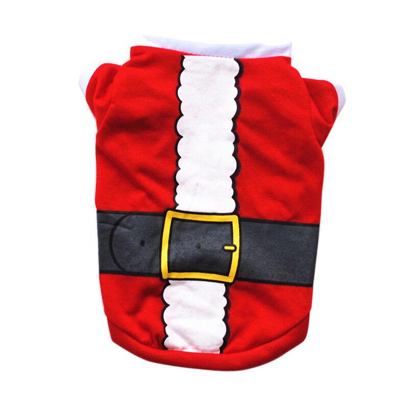 Pet Dog Cat Christmas Santa Clothes Puppy Warm Jumper Costume Outfit Vest UK 10