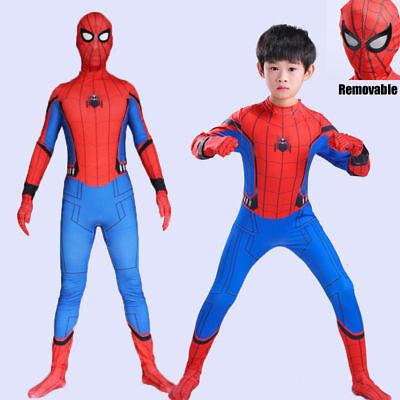2018 KidsMovie Spider-Man Homecoming Hero Cosplay Costume Outfit Suit Halloween