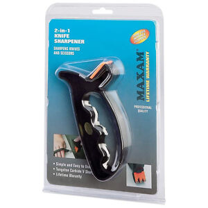 Maxam 2-in-1 Professional Quality Knife Scissors Sharpener Tungsten Carbide
