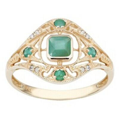 10k Yellow Gold Vintage Style Genuine Emerald and Diamond Ring size 6-10 Diamond Emerald Fashion Ring