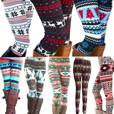 Fashion Vogue Women Warm Winter Knit Snowflake Leggings Xmas Stretch