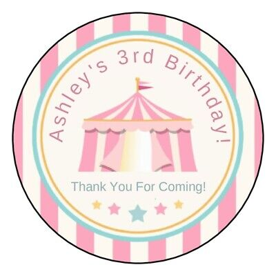 Circus Party Favors (12 Personalized Circus Birthday Party Stickers Favors Labels tag 2.5