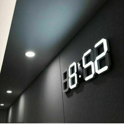 Best Digital 3D LED Wall/Desk Clock Snooze Alarm Big Digits Auto Brightness USA