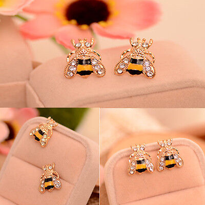 Fashion Animal Ear Stud Enamel Rhinestone Bumble Bee Crystal Earrings Jewelry  - Bumble Bee Ears