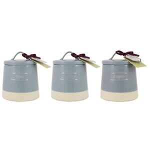 English Tableware Co. Artisan Tea Coffee and Sugar Canisters, Blue Storage Jars