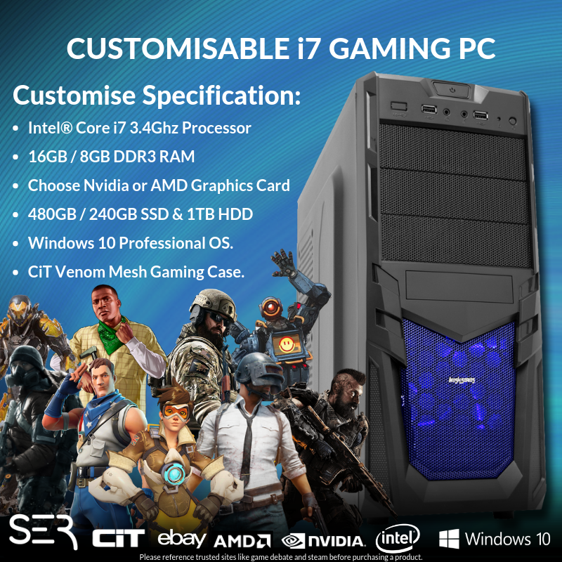 Computer Games - Windows 10 Customised Core i7-2600 Quad Gaming Tower 16GB / 8GB DDR3 PC Computer