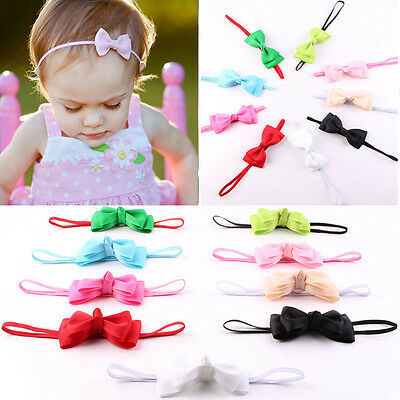 10Pcs Infant Baby Girl Cute Bow Headband Newborn Hair Band Headdress Headwear AA