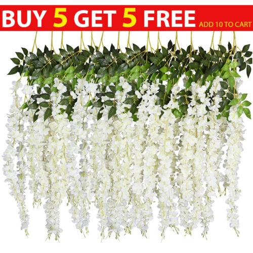 Home Decoration - Artificial Hanging Wisteria Ivy Fake Silk Flower Vine Home Wedding Garden Decor
