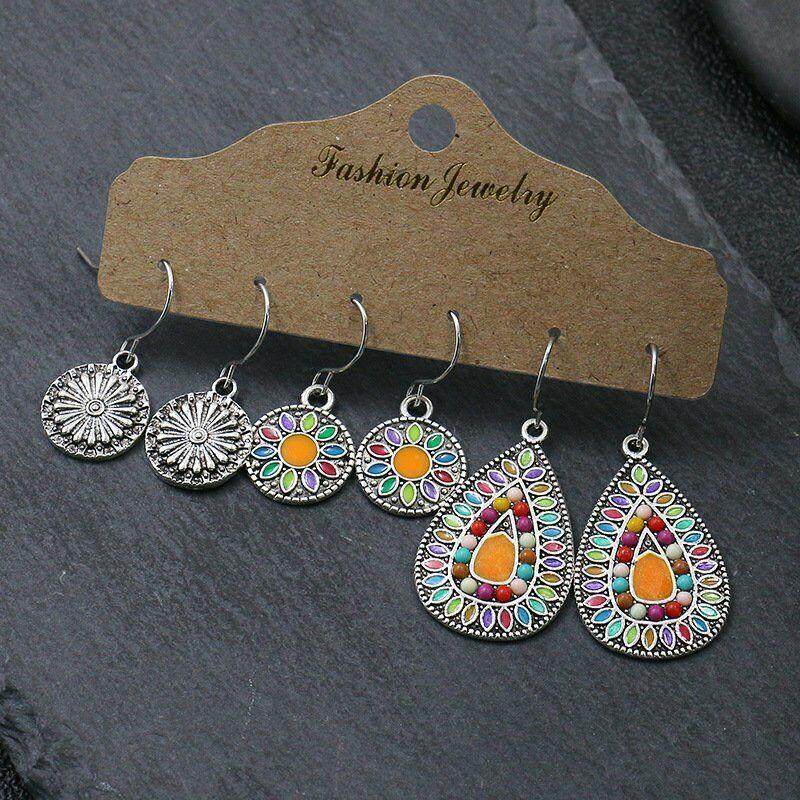 3 Pairs Set Retro Ethnic Bohemian Earrings Dangle Drop Hook