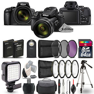 Nikon COOLPIX P900 Digital Camera 83x + LED + 7PC Filter + EXT BAT - 64GB Bundle