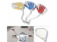 Moped/Motorbike mirrors. Customise your bike Chrome with Red skeleton hand