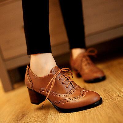 (Retro Women Lace Up Oxford Pumps Shoes Block Heels Brogues Court Shoes Plus Size)