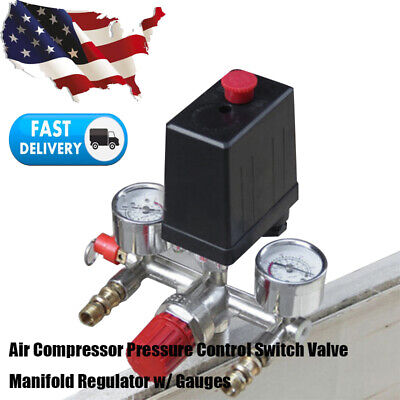 Air Compressor Pressure Control Switch Valve Manifold Regulator Gauges 175psi