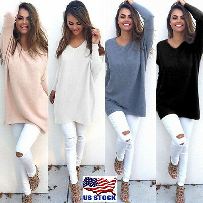 Women's Loose Knitted Pullover Jumper Sweater V Neck Long Sleeve Knitwear Top US