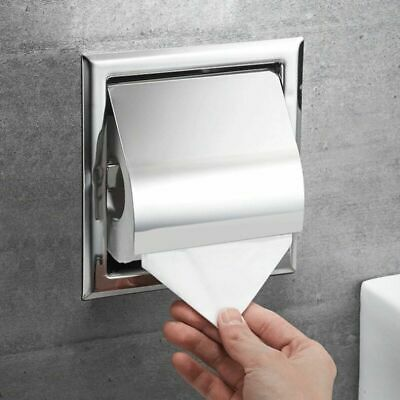 Recessed Toilet Paper Holder Real 304 Stainless Steel in-Wall Tissue Roll Holder Roll Recessed Toilet