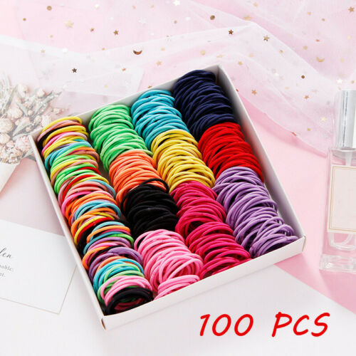 100Pcs Kids Girl Elastic Rope Hair Ties Ponytail Holder Rubber Band Hairband Clothing, Shoes & Accessories