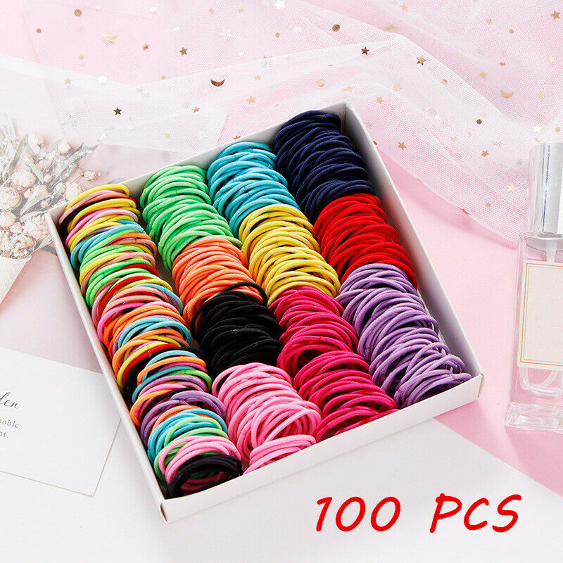 100Pcs Kids Girl Elastic Rope Hair Ties Ponytail Holder Rubber Band Hairband