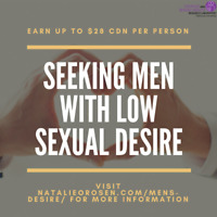 Seeking: MEN with LOW DESIRE for Paid Study