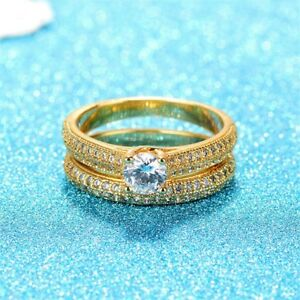10K Yellow Gold Filled Engagement Wedding Rings Set 10 - New