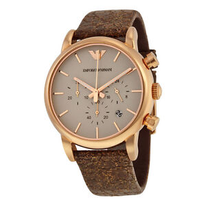 Emporio Armani Chronograph Brown Dial Brown Leather Men's Watch