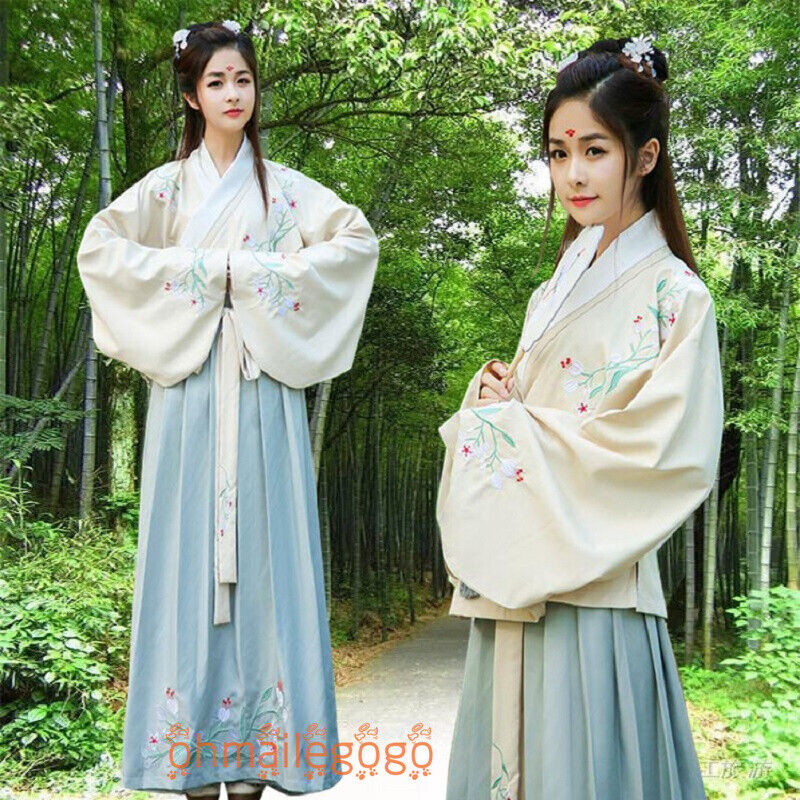 3 Pcs Set Women/'s Dress Inner Skirt Suit Hanfu Clothing Chiffon Chinese Dress